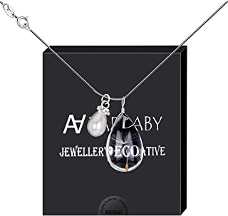 Dandelion Seed Pendant Wish Necklace with Crystal Pearl Charm on 18