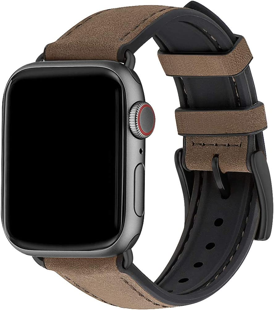 WFEAGL Compatible with Apple Watch Band 38mm 40mm, Waterproof Hybrid Genuine Leather Silicone Sweatproof Strap for iWatch SE & Series 6 5 4 3 2 1 Nike+,Sports Edition (Coffee Band+Black Connector)