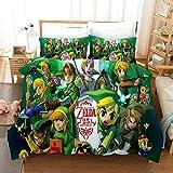 QWAS The Legend of Zelda - Juego de funda nórdica y funda de almohada (apto para todas las estaciones, V01, 200 x 200 cm + 80 x 80 cm x 2)