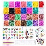 Tintec Gomitas para Hacer Pulseras, 11000Pcs Gomitas Elásticas Plásticas de 28 Colores para Tejer Bandas de Goma de Juguete para Niñas Anillos Collares de Bricolaje Manualidad Niña