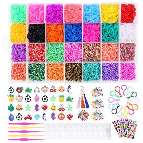 SPLAKS 10000 +DIY Elastici Loom Nastri, 28 Gommini Elastici Colorati, Kit Completo Elastici di Gomma per Fare Braccialetti Lavorare a Maglia Giocattolo per Bambini