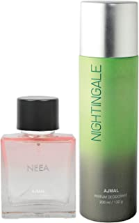 Ajmal Neea EDP for Women 100ml & Nightingale Deodorant for Men & Women 200ml Combo pack of 2 (Total 300ml) + 4 Parfum Testers