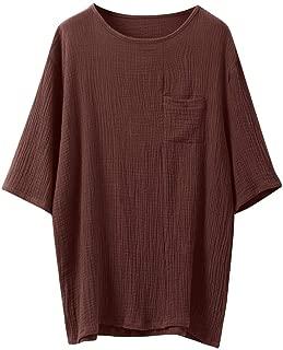 Men's Baggy Cotton Retro V Neck Tops Blouse 3/4 Sleeve Linen T Shirts