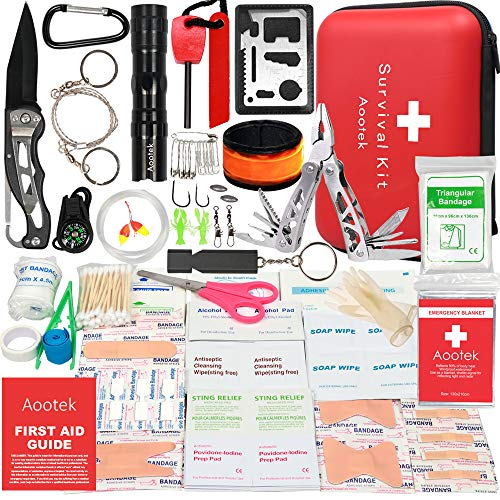 Aootek Upgraded 268 Pcs first aid kit survival Kit.Emergency Kit earthquake survival kit Trauma Bag for Car Home Work Office Boat Camping Hiking Travel or Adventures