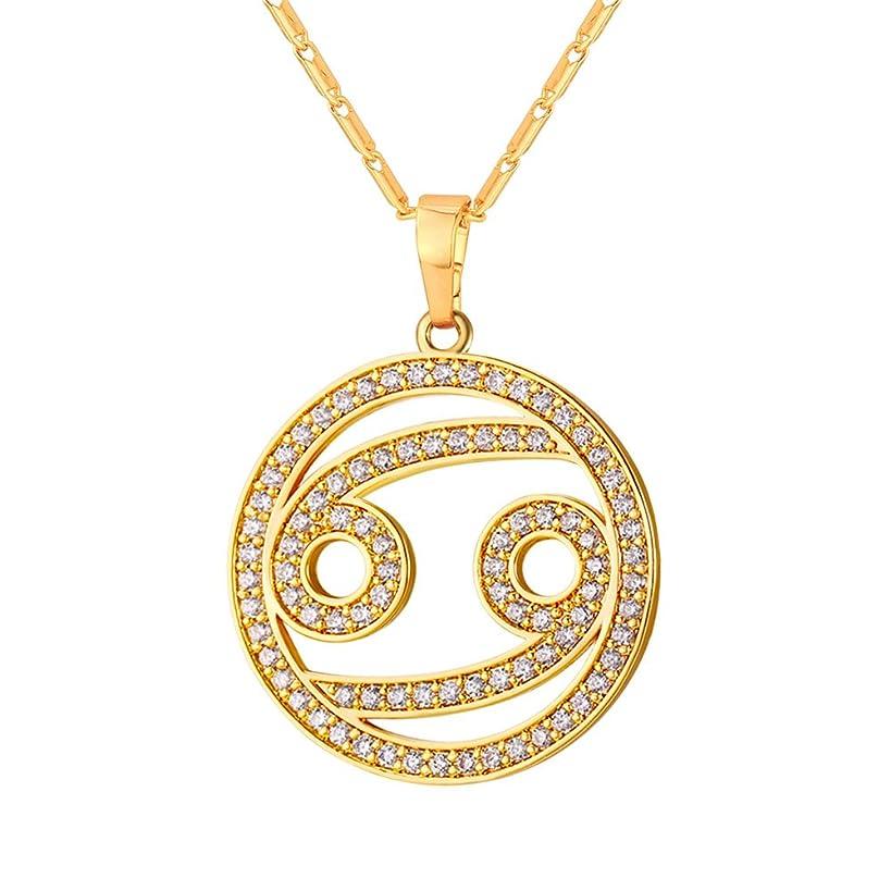 U7 Zodiac Pendant Hollow Fashion with Cubic Zirconia Women & Men Birthday Gift Constellation Jewelry Platinum/18K Gold Plated Necklace