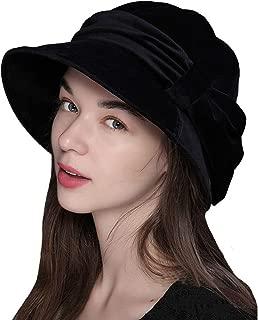 F FADVES Womens Velvet Hats Wide Brim Fedora Bowler Cap Cloche Elegant Church Hat