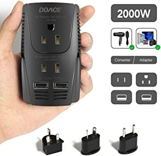 2019 Upgraded DOACE C11 2000W Travel Voltage Converter for Hair Dryer Straightener Flat Iron, Step Down 220V to 110V, 10A Power Adapter with 2-port USB, EU/UK/AU/US Plugs for Laptop Camera Cell Phone