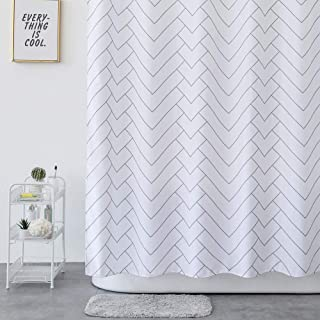 Aimjerry Striped Fabric Shower Curtain White for Bathroom,Waterproof 72 X 78 Inch
