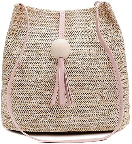 Bolsa de paja para mujer tejida a mano borla cubo verano bolso tejido playa estilo boho, Pink, Talla única