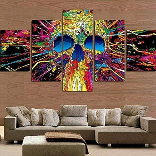DSGER HD Art Cuadro De Pared 5 Partes Impresión Decoración Canvas Cráneo Colorido Abstracto Moderno Salón Decoración para Hogar