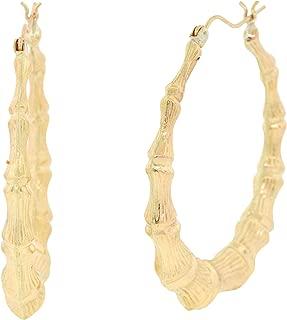 Ladies Hollow 10k Yellow Gold Bamboo Style Hoop Earrings, 43mm