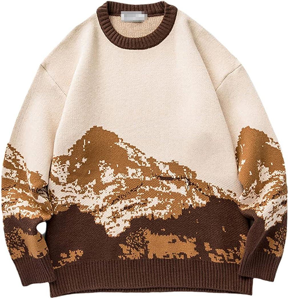 Men Moutain Winter Sweaters, Oversized Korean Sweater Women Vintage Pullover