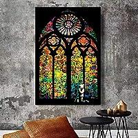 Xykshiyyステンドグラスの窓教会のキャンバスの絵画現代の版画とポスターリビングルームの壁の芸術の写真家の装飾/ 40x60cm15x23インチ(フレームなし)