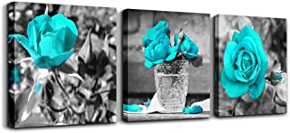 wall art for living room Black and white rose flowers Blue Big Canvas Prints Wall Decor Artwork 24
