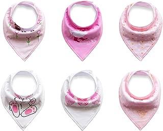 6 baberos tipo bandana de la marca Txian, 100% algodón con bonitos diseños, impermeables, para bebés y niños pequeños
