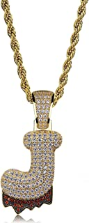 Initial Letter Necklace Simulated Diamond Iced Out Bling Letter Initial Pendant Hip Hop Necklace