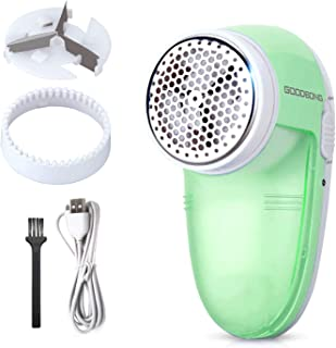 GOODBONG Fabric Shaver Rechargeable, Electric Lint Remover, Sweater Shaver Defuzzer 1 Replaceable Stainless Steel 3-Blades, Removable Bin, Dual Protection - White Green