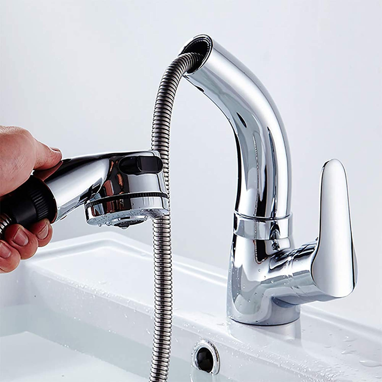 Cmccedu Hot and Cold Pull-Type Faucet Can Lift The Telescopic Basin Basin Faucet Lift Pull Faucet
