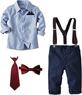 Lausana Boy Gentleman Outfits Suits Long Sleeve Shirts + Suspender Pants + Bow Tie + Tie Weddling Pant Sets 2T - 7T