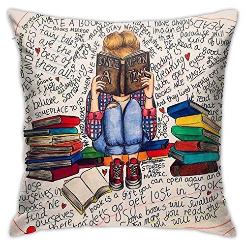 qidong Reading is Dreaming with Open Eyes. Funda de almohada cuadrada decorativa para el hogar, 45,7 x 2,5 cm.