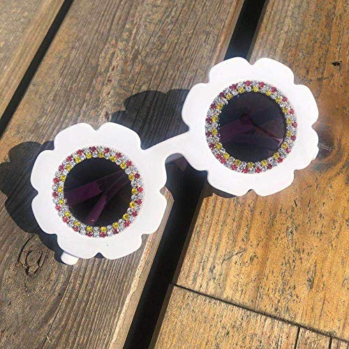 CIDCIJN Childrens Sunglasses,Summer Gorgeous Round Kids Cute Sunglasses Diamond Flower Children Eyewear Cute Small Baby Glassess.Useful Gift