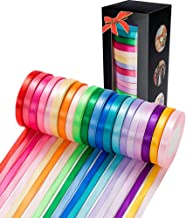 500 Yard Fabric Ribbon Satin Ribbon Rolls Silk Satin Roll, 25 Yard/Rolls, 20 Rolls, Satin Ribbon for Gift Package Wrapping...