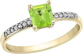 14K Yellow Gold Natural Peridot Ring Octagon 7x5 mm Diamond Accents