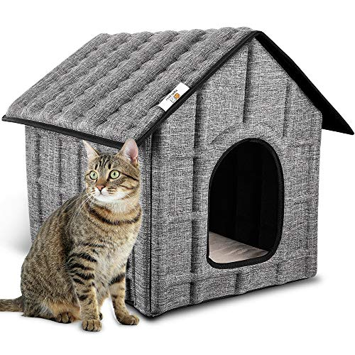 PUPPY KITTY Cat House Insulated Foldable Pet House with Removable Soft Mat and 4 Fixed Buckle for Indoor Warm Bed for Cat,Puppy Dog,Rabbit in Winter