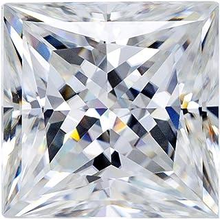 Buhui Moissanite - Orecchini a forma di diamante quadrato, colore D