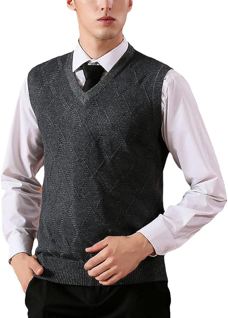 GYSAFJ Winter Men Sleeveless Sweater Casual Computer Knitted V-Neck Vest