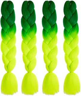 Mychanson Long Jumbo Braiding Hair Synthetic High Temperature Fiber African Twist Two Tone Ombre Color Braids(Deep Green-Yellow Green & 4pcs)