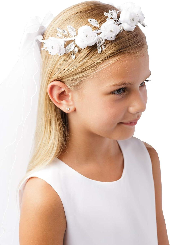 Girls' White Pearl Rhinestone Center Floral Crown First Communion Flower Girl Head Wreath with Veil