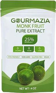 Gourmazia - Monk fruit Sweetner with 25% Mogrosides, Sugar Substitute Natural Monk Fruit Extract Powder, Non GMO, Keto Fri...