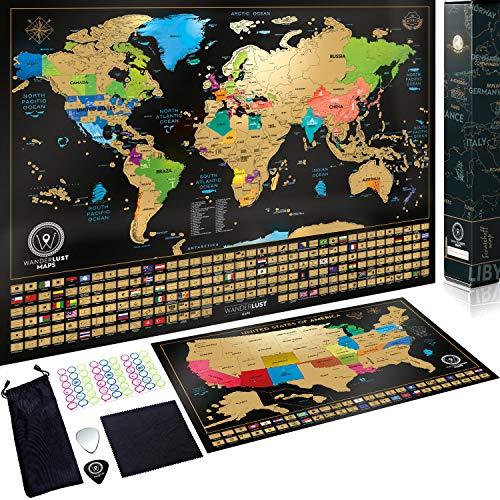 Scratch Off World Map met Amerikaanse staten en vlaggen - Gelamineerd met 24 inch Hangers in Matte Black. Geschenkset bundel inclusief krasje, geheugenstickers en vergrootglas