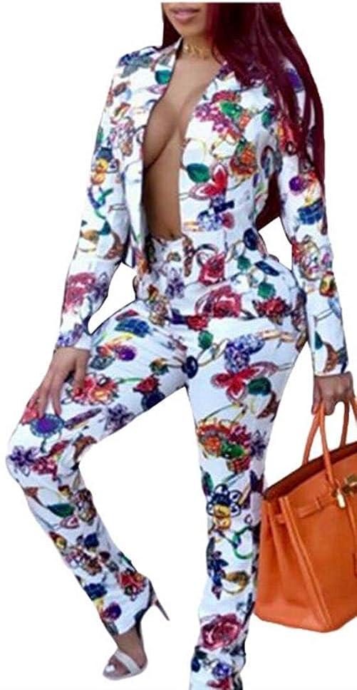 状ペット療法女性の花のスウェットシャツスキニーパンツスタイリッシュなスポーツトラックスーツ White US Medium