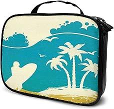 Nicokee Travel Makeup Bag Summer Beach Ocean Waves Surfboard Series Cosmetic Case Organizer Waterproof Makeup Brush Organizer Bag for Women