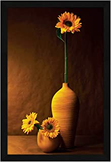 ArtX Paper Flower Vase Beautiful Floral Wall Art Framed Painting Multicolor (19 X 13 Inches)