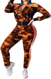 neveraway Women Zip Active Workout Lounge Camo 2 Piece Tracksuit Jog Set