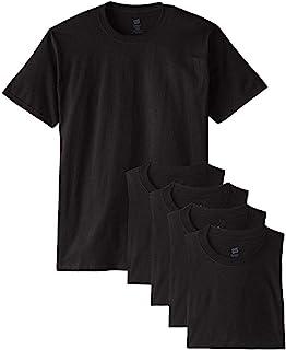 Hanes メンズ Tシャツ ラベルなし 柔らかくて快適 丸首(5枚入り)