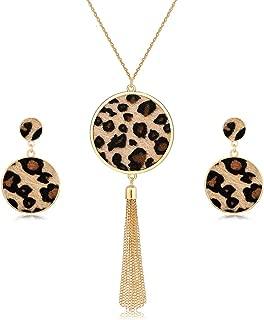 Long Necklaces for Women Animal Print Leopard Necklace Dangle Earrings Set Chain Fringe Tassel Pendant Necklaces Statement Jewelry Set
