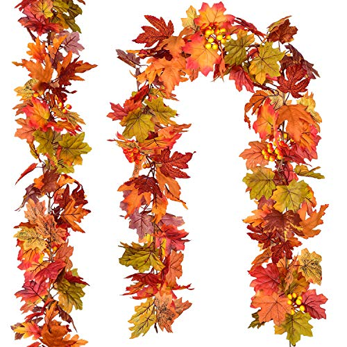 DearHouse 2 Pcs Fall Garland Maple Leaf, 5.9Ft/Piece Hanging Vine Garland Artificial Autumn Foliage Garland Thanksgiving Decor for Home Fireplace Party Christmas