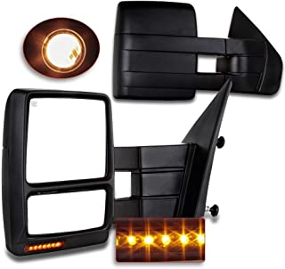 For Ford Towing Mirrors SCITOO Exterior Accessories Mirrors for 2007-2014 Ford F150 Truck with Power Controlling Heated Amber Turn Signal Manual Telescoping and Folding Features
