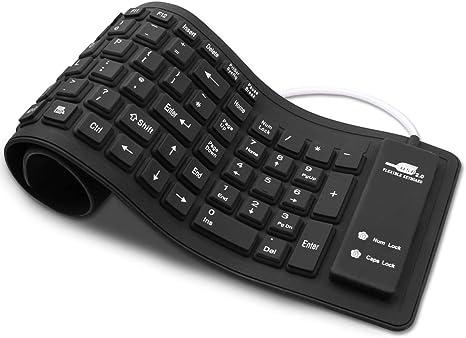 Teclado portátil suave de silicona, teclado USB con cable enrollable, teclado de gel de sílice para ordenador portátil PC o Mac.: Amazon.es: Electrónica