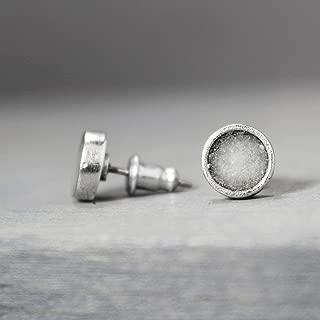 Selenite Crystal Metal Stud Earrings Jewelry Gift for Women