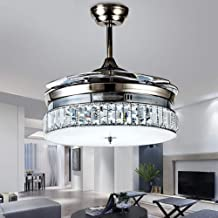 """ZMD chandelier Modern 36"""" K9 Crystal Dimmable Fan Chandelier With Remote Control LED Chandelier Light Metal Luxury Invisib..."""