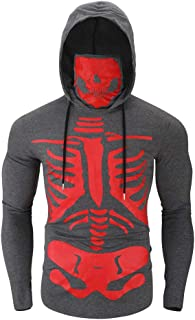 GOWOM Fashion Mens Mask Skull Print Pullover Long Sleeve Hooded Sweatshirt Tops Blouse