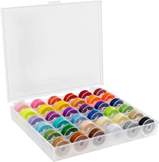 TRIXES 36PC Bobbin Thread Spools – for Sewing Machine Embroidery Accessories – with Storage Case – Assorted Colors for Arts Craft Projects & Clothing – Standard Size