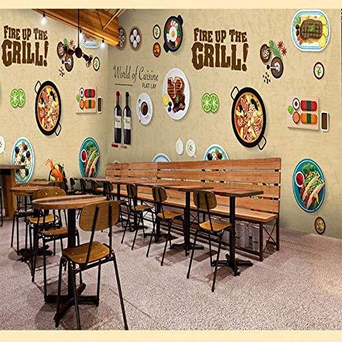 Muurschildering Art 3D fotobehang graffiti-levensmiddelen muur koffie boutique lieve cartoon blackboardmilk thee grill sushi Shop bar teller behang_300cm(w) x200cm(h)(9'10