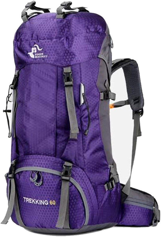 Camping Rucksack Mnner und Frauen Bergsteigenbeutel Mit Regenschutz (Capacity   60 L, Farbe   lila)