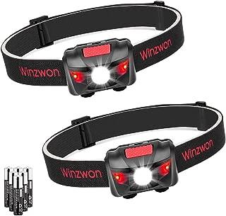 Winzwon - Linterna frontal LED superbrillante con 4 modos de brillo, luz delantera ligera para correr, acampar, pesca, senderismo, lectura, 6 pilas AAA incluidas
